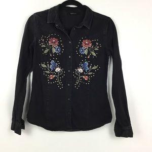 Buffalo David Bitton black denim jacket Floral